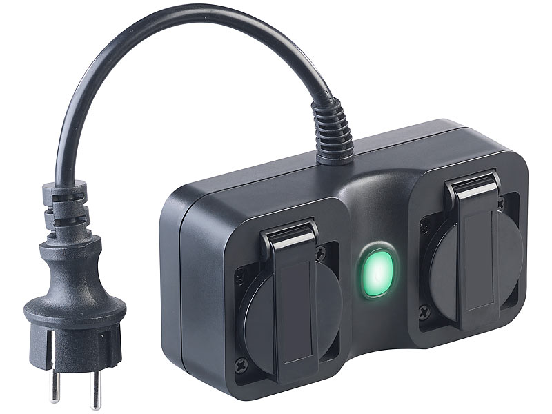 IP Doppelsteckdose mit Schalter /& integrierter Kindersicherung auch für draußen