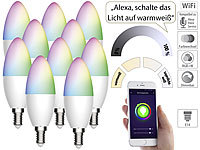 Luminea Home Control 10er-Set WLAN-LED-Lampe für Amazon Alexa/Google Assistant, E14, 5,5 W