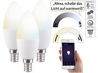 Luminea 3er-Set WLAN-LED-Lampe, für Amazon Alexa & Google Assistant, E14, CCT