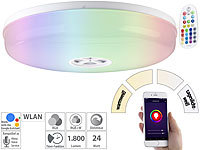 Luminea Home Control LED-Deckenleuchte RGB + CCT, für Amazon Alexa & Google Assistant