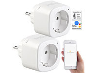 Luminea Home Control 2er-Set WLAN-Steckdosen, Amazon Alexa & Google Assistant komp., 16 A