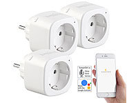 Luminea Home Control 3er-Set WLAN-Steckdosen, Amazon Alexa & Google Assistant komp., 16 A