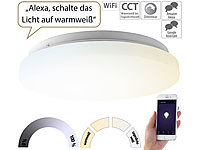Luminea Home Control WLAN-LED-Deckenleuchte für Amazon Alexa & Google Assistant, CCT, 24 W