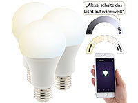 Luminea Home Control 3er-Set WLAN-LED-Lampen, für Amazon Alexa & Google Assistant, E27, CCT