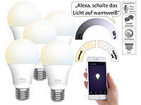 Luminea Home Control 5er-Set WLAN-LED-Lampen, E27, 800lm, für Alexa & Google Assistant, CCT