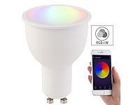 Luminea Home Control WLAN-LED-Lampe, komp. mit Amazon Alexa & Google Assistant, GU10, RGB+W