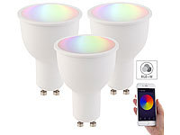 Luminea 3er-Set WLAN-LED-Lampen, Amazon Alexa & Google Assistant komp., GU10