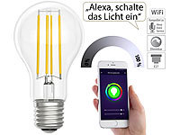 Luminea Home Control LED-Filament-Lampe, komp. zu Amazon Alexa & Google Assistant, 6500 K