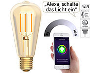 Luminea Home Control LED-Filament-Lampe, komp. zu Amazon Alexa & Google Assistant, 2200 K
