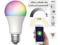 Luminea Home Control WLAN-LED-Lampe, für Amazon Alexa und Google Assistant, E27, RGBW, 15 W