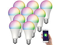 Luminea Home Control 10er-Set WLAN-LED-Lampen für Alexa & Google Assistant, E27, RGB, CCT