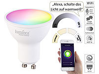 Luminea Home Control WLAN-LED-Spot für Amazon Alexa & Google Assistant, GU10, RGB, CCT, 5 W