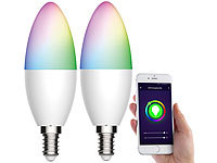 Luminea Home Control 2er-Set WLAN-LED-Lampen, für Amazon Alexa/GA, E14, RGB, CCT, 5,5 W