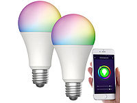 Luminea Home Control 2er-Set WLAN-LED-Lampen, für Amazon Alexa/GA, E27, RGB, CCT, 12 W