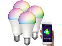 Luminea Home Control 4er-Set WLAN-LED-Lampen, für Amazon Alexa/GA, E27, RGB, CCT, 12 W