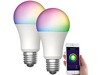 Luminea Home Control 2er-Set WLAN-LED-Lampen, für Amazon Alexa, GA, E27, RGBW, 15 W