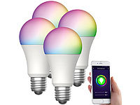 Luminea Home Control 4er-Set WLAN-LED-Lampen, für Amazon Alexa,GA, E27, RGBW, 15 W; WLAN-Steckdosen mit Stromkosten-Messfunktion WLAN-Steckdosen mit Stromkosten-Messfunktion WLAN-Steckdosen mit Stromkosten-Messfunktion