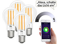Luminea Home Control LED-Filament-Lampe, komp. zu Amazon Alexa / GA, 2700 K 4er-Set