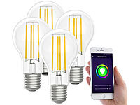 Luminea Home Control LED-Filament-Lampe, komp. zu Amazon Alexa / GA, 6500 K 4er-Set