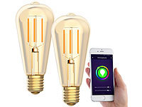 Luminea Home Control 2er-Set LED-Filament-Lampen, komp. zu Amazon Alexa & Google, 2200 K