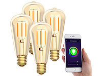 Luminea Home Control 4er-Set LED-Filament-Lampen, komp. zu Alexa & Google Assistant, 2200 K