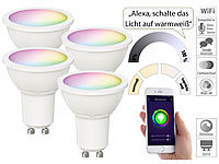 Luminea Home Control 4er-Set WLAN-LED-Spots für Amazon Alexa & GA, GU10, RGB, CCT, 5 Watt