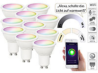 Luminea Home Control 10er-Set WLAN-LED-Spots für Amazon Alexa & GA, GU10, RGB, CCT, 5 Watt