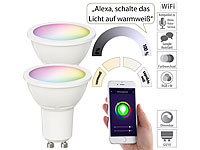 Luminea Home Control 2er-Set WLAN-LED-Spots für Amazon Alexa & GA, GU10, RGB, CCT, 5 Watt