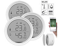 Luminea Home Control 3er-Set WLAN-Temperatur & Luftfeuchtigkeits-Sensoren mit App; WLAN-Steckdosen mit Stromkosten-Messfunktion WLAN-Steckdosen mit Stromkosten-Messfunktion WLAN-Steckdosen mit Stromkosten-Messfunktion