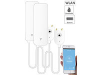 Luminea Home Control 2er-Set WLAN-Wassermelder, externer Sensor, App, 2 J. Batterielaufzeit; WLAN-Steckdosen mit Stromkosten-Messfunktion WLAN-Steckdosen mit Stromkosten-Messfunktion WLAN-Steckdosen mit Stromkosten-Messfunktion WLAN-Steckdosen mit Stromkosten-Messfunktion