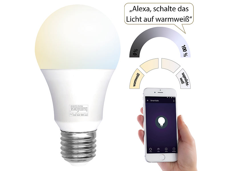 Luminea Home Control WLAN LED Lampe, E27, 800 lm, für Amazon