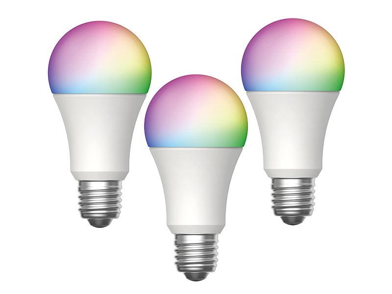 Luminea Home Control WiFi Lampe: 3er Set WLAN LED Lampen
