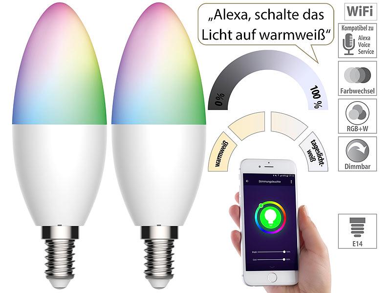 2er Set RGB LED Leuchtmittel Farbwechsel E14 200 Lumen 3,5 Watt Kerzen DIMMER